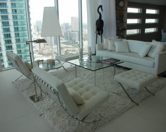 Barcelona Chairs · White Leather SofasLiving Room ...