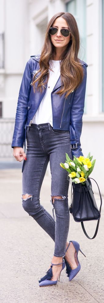 Navy Leather And Distressed Jeans Outfit Idea by SOMETHING NAVY