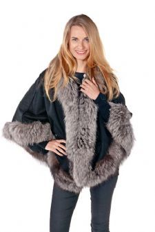 Silver Fox and Black Cashmere Capes, Fur Trimmed Cashmere Capes sold at Madisonavemall.com $695 (click picture back view)