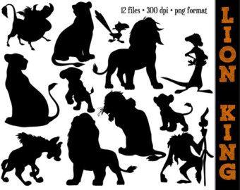 The Lion Silhouettes // Nala, Simba, Mufasa, Timon, Pumbaa & More Silhouette // Disney Clipart // Lion King Party Silhouettes