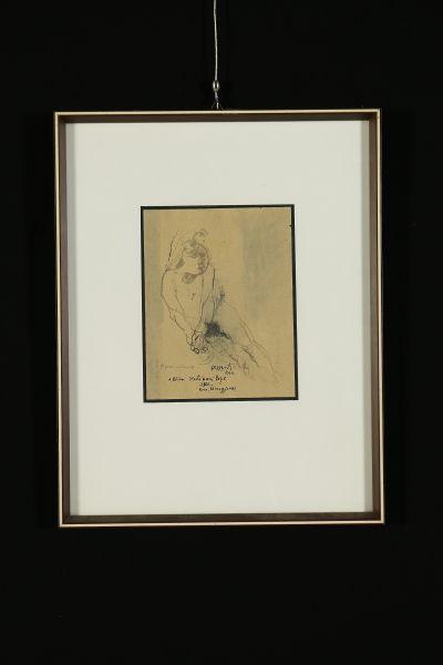 Tecnica mista su carta. Firmato e datato 1972, con dedica. In cornice con vetro.