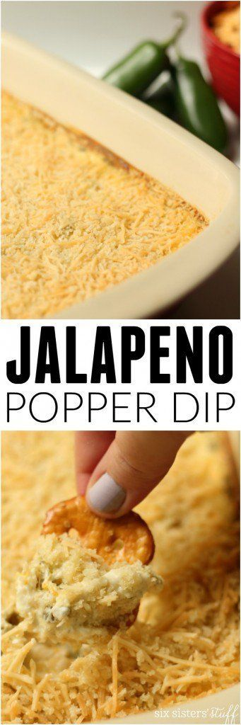 Try this Jalapeno Popper Dip appetizer recipe. It's one of the most popular pins on Pinterest! Makes a great party food or, heck, just have it for dinner!