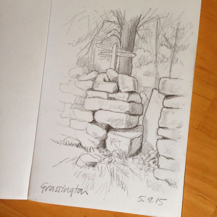 Old stile pencil sketch near grassington in yorkshire