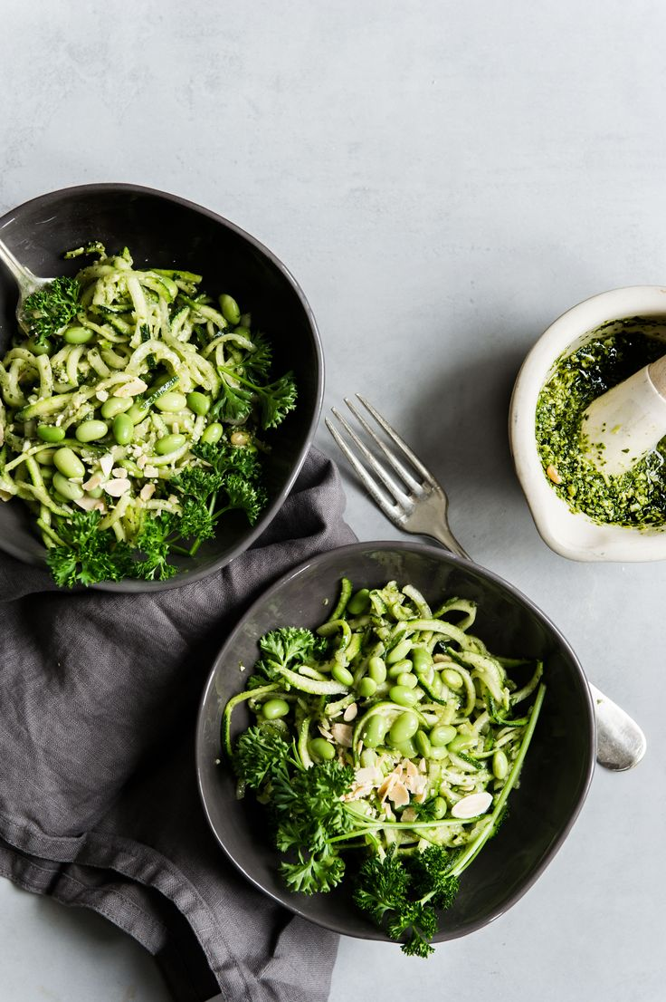 zucchini with homemade almond pesto and edamame | issy croker photography