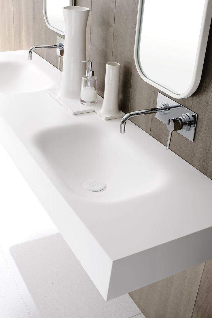 Moode | washbasin countertop by @rexadesign double corian® washbasin countertop, Moode collection
