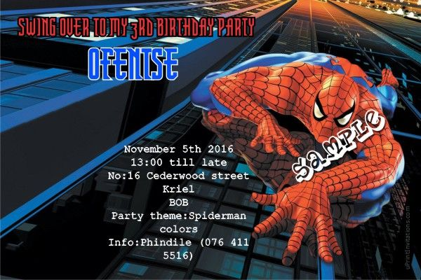 Card: Spiderman Birthday Invitations Blue Building
