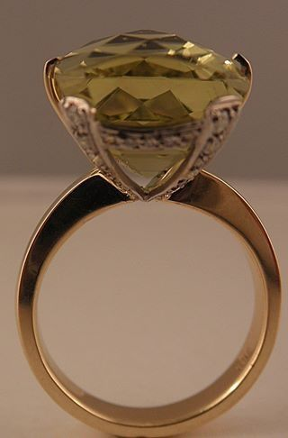 Olil Jewellery olil.com.au Lemon quartz in a diamond and white gold setting with yellow gold band.