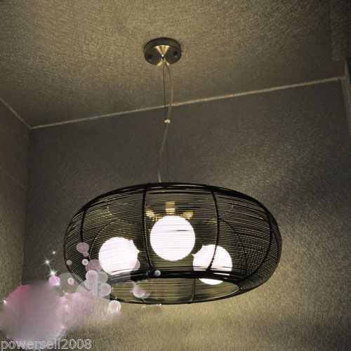 #187 New 3*Lights Black Aluminium Wire Diameter 50cm Droplight Hanging Lamp