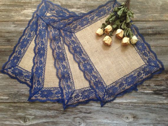 Burlap Placemats with NAVY / DARK BLUE Lace by DawnWeddingDesigns