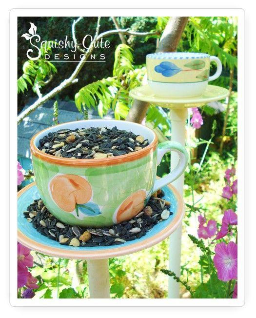 Easy to make bird feeder - whimsical teacup bird feeder