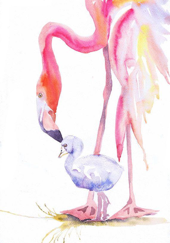 Flamingo Art Print Watercolor Painting Baby Animals