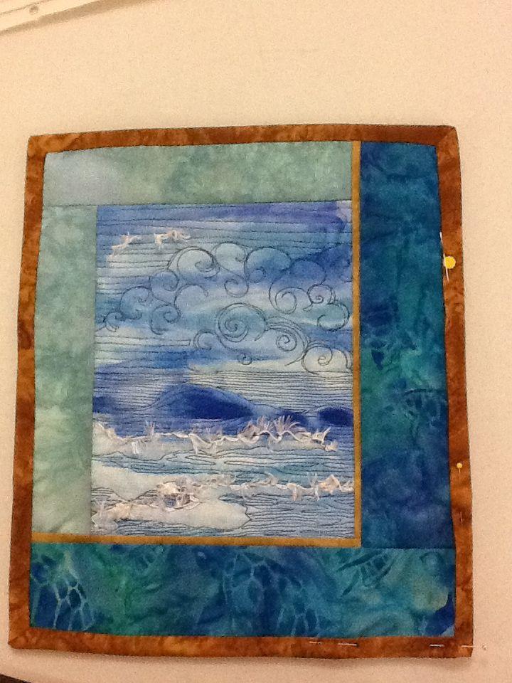 Mini Art Quilt Painted Fabric Thread Painting