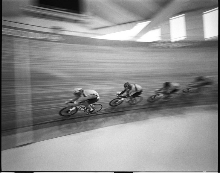 Cyclists training at the Athens Olympic Velodrome during the 2004 Olympics. David Burnett