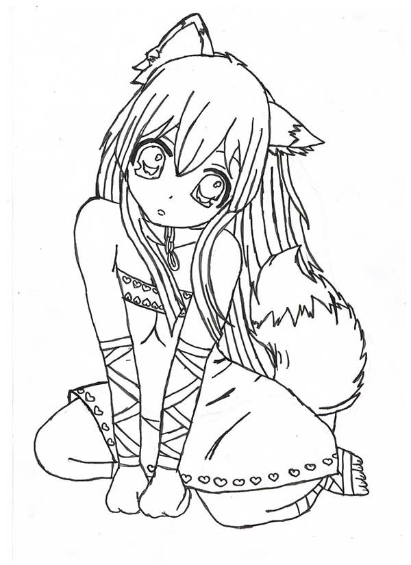 chibi fox girl anime coloring pagejpg 600 - Anime Wolf Couples Coloring Pages