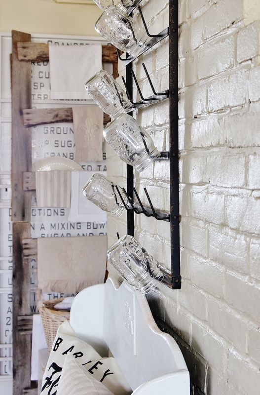 French Farmhouse + Rustic Country + French Bottle Rack + White.