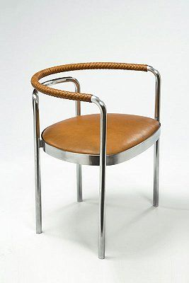 PK 12 Chair designed 1964 / manufactured 2007 chrome-plated steel frame with leather seat covering and braided leather armrest 26 3/4 x 24 3/4 x 20 1/2 inches  (68 x 63 x 52 cm) edition of 25 with 8 APs
