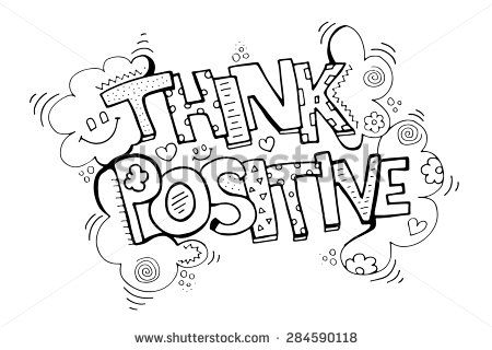 Stock Vector Think Positive Doodle Hand Drawing Sketch Coloring