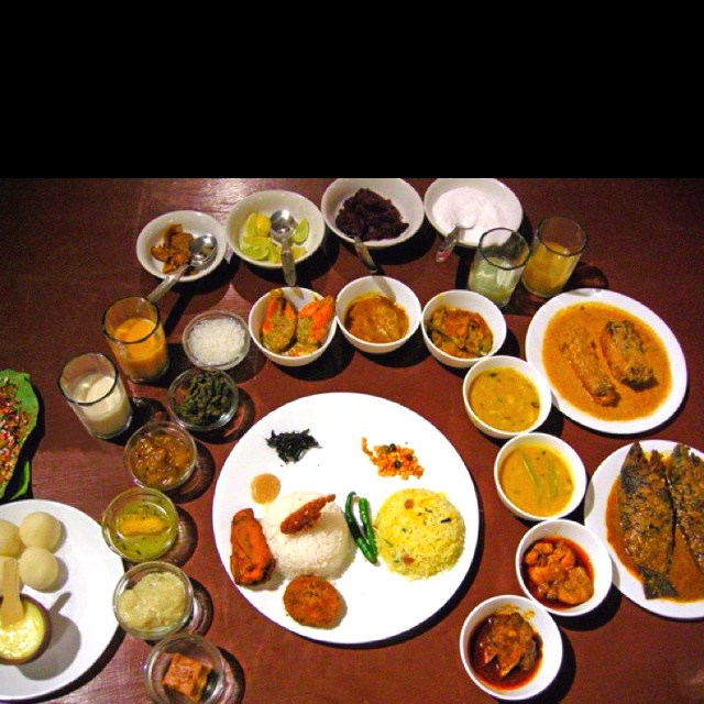 Typical Indian Bengali Food for the Bride and Groom on their marriage..