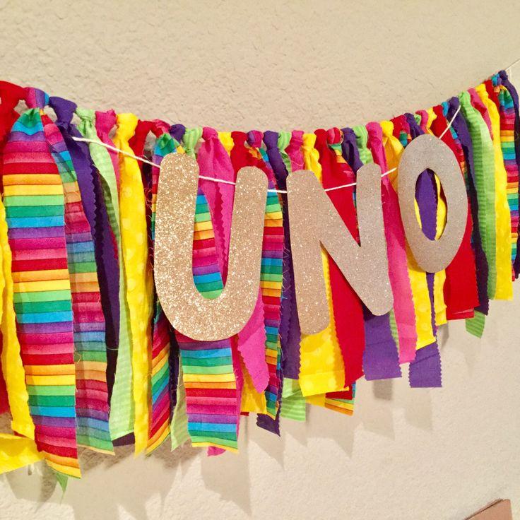 Uno birthday highchair banner, first birthday, baby fiesta, fiesta ribbon garland, high chair banner by sotakenote on Etsy https://www.etsy.com/listing/506299459/uno-birthday-highchair-banner-first