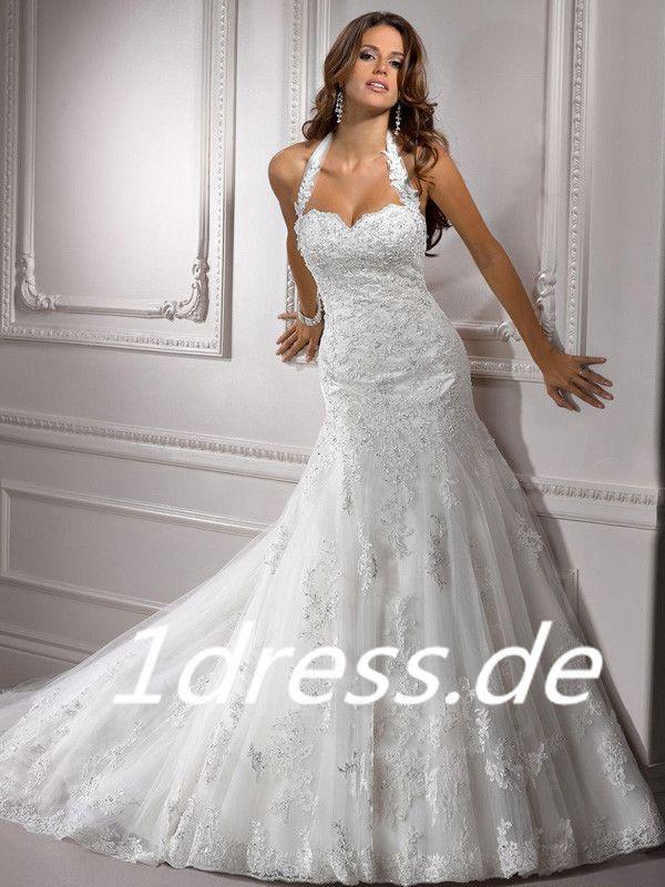 Aus Tüll Neckholder Kapelle-Schleppe Reißverschluss Weiße Brautkleider Meerjungfrau #USARS029