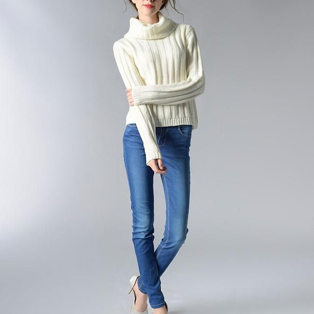 vancol 2016 casual ladies knitwear white long sleeve knitted pullover female sueter mujer turtleneck winter sweater women