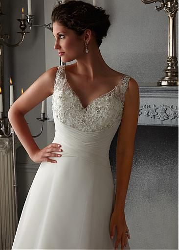 Charming Tulle & Organza Satin V-neck Neckline Inverted basque Waistline A-line Wedding Dress With Beaded Lace Appliques