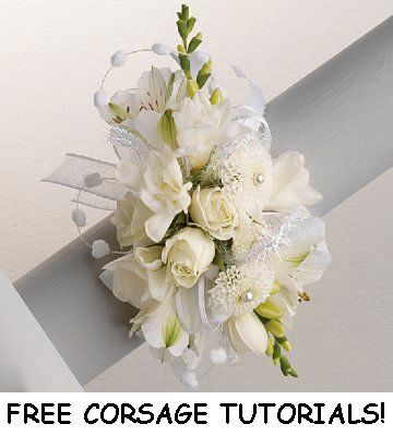 White Corsages - This site has galleries of wedding flowers, DIY florist supplies and free flower tutorials.  Learn how to make bridal bouquets, corsages, boutonnieres, reception table centerpieces and church decorations. Buy wholesale fresh flowers and discount florist supplies.
