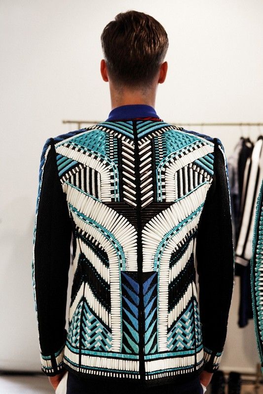 Beaded jacket in geometric tribal pattern. Backstage at Balmain Spring 2015, Menswear. Photo: Marie-Amélie Tondu http://www.dazeddigital.com/fashion/gallery/18084/5/balmain-ss15