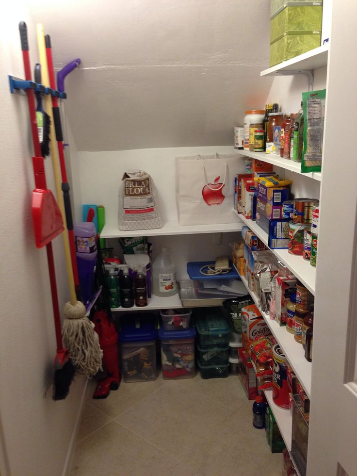 Under Stairs Coat Closet Turned Pantry Remodel