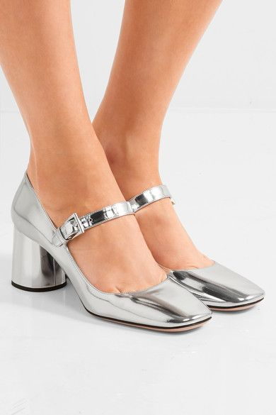 Prada - Metallic Leather Mary Jane Pumps - Silver - IT38.5