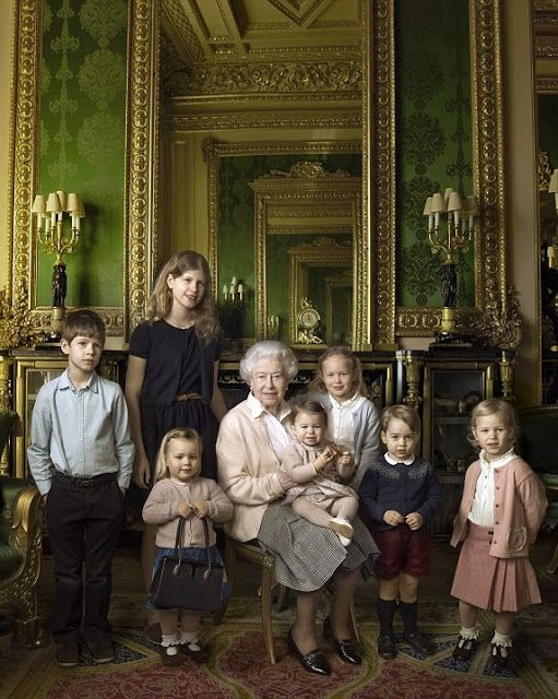 Queen Elizabeth II wanted a portrait of the youngest members of the family - her two youngest grandchildren, who are quite a lot younger than the others, and the great-grandchildren. Pictured left to right: James, Viscount Severn, Lady Louise Alice Elizabeth Mary Mountbatten-Windsor, Mia Tindall, the Queen, Princess Charlotte, Savannah Phillips, Prince George and Isla Phillips