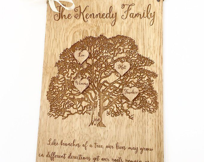 Alternative Wedding Gifts: Rustic Wooden Wedding Gift, Personalised Wooden Family