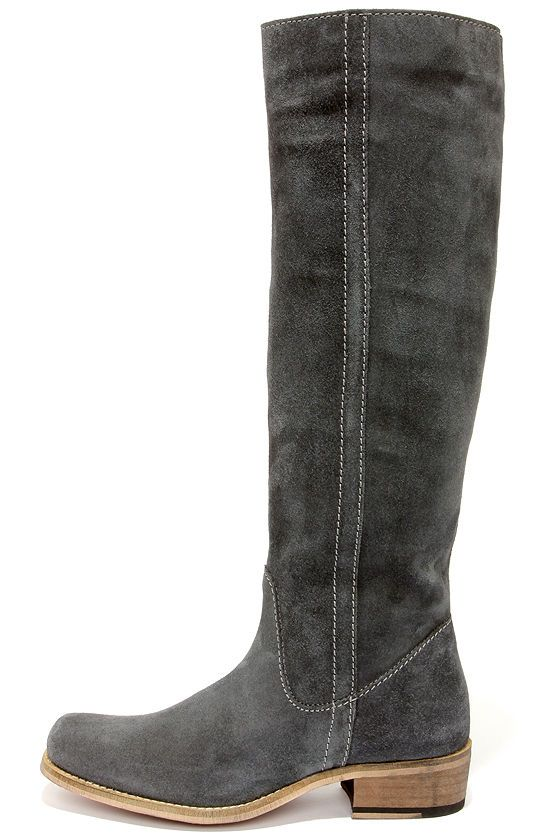 Seychelles Secretive Grey Suede Leather Riding Boots Great transition color for spring!