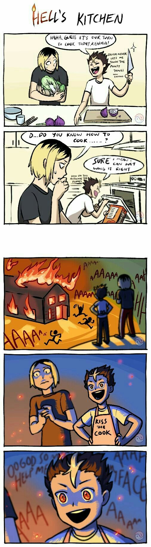 I don't know what Noya moment in the comic is the best the people running around in his eyes, Dadchi not letting him have sharp objects, or wondering how to activate the flames.