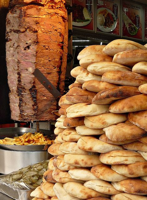 Döner Kebab Stall, Istanbul, Turkey, a Turkish dish of meat cooked on a vertical rotisserie.