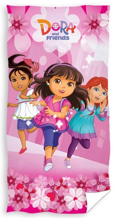 Dora i przyjaciele kąpielowe ręczniki dla dzieci różowe