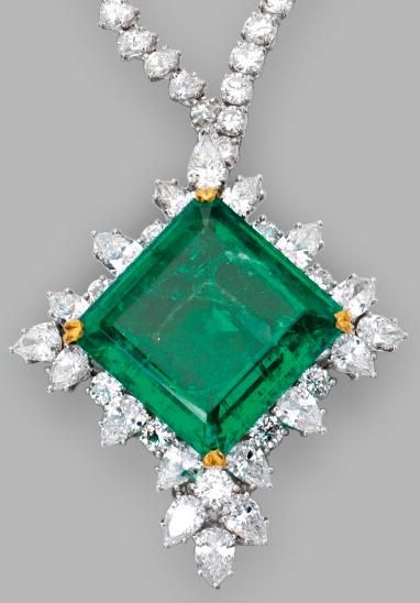 Platinum, 18 Karat Gold, Emerald and Diamond Pendant-Brooch/Necklace…