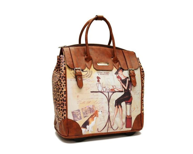 Coffee Rolling Tote Nicole Lee Travel Bag Leather Leopard Print Business Laptops | eBay