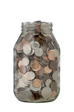 Every penny counts! Make a New Year's resolution to start saving up for wish-list items old school in a change jar. #newyearsresolutions