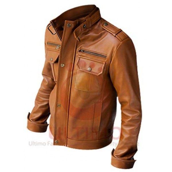 75f8719af Nero Slim Fit Mustard Brown Leather Jacket | BOMBER & MILITARY ...