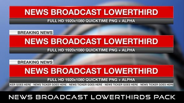 News Broadcast Lowerthirds Pack 2  3 Lowerthirds | Full HD 1920×1080 | Quicktime PNG alpha codec | Each 10 seconds.  If you love my work, don't forget to rate it. Thank you.  #envato #videohive #aftereffects #motiongraphic #animatedlowerthird #breakingnews #broadcast #caption #color #elegant #modern #news #presentation #professional #shiny #simple #television #text #title
