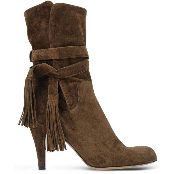 Chloé Ankle Boots ($960) ❤ liked on Polyvore featuring shoes, boots, ankle booties, khaki, chloe' boots, round cap, round toe ankle boots, khaki boots and leather bootie