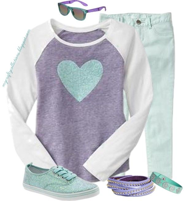 Girl's Outfit: Casual Pastels - Featuring items from Gap, Old Navy, Justice, and H&M.