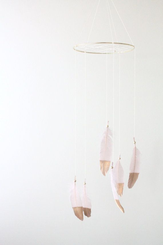 Blush Pink Dusty Pink Gold Dipped Dreamcatcher by TheDreamBarn
