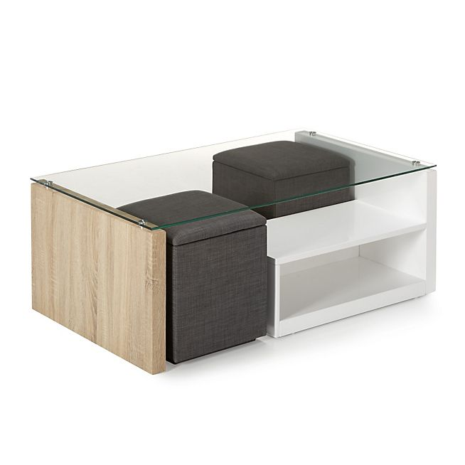 table basse avec rangement et pouf. Black Bedroom Furniture Sets. Home Design Ideas