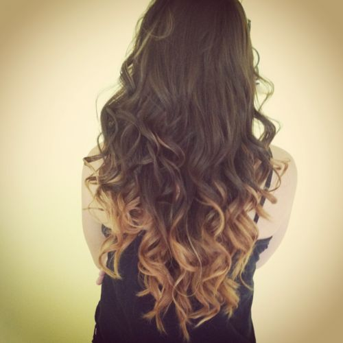 dark brown hair with blonde tips