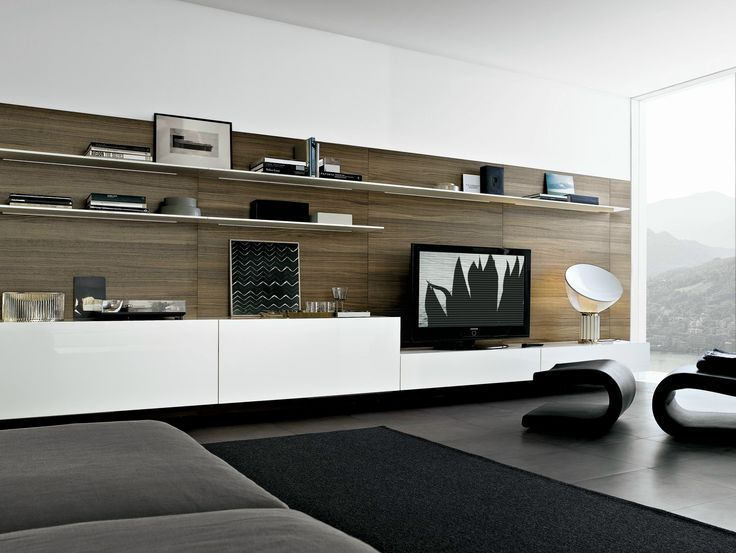 MODULAR WOODEN TV WALL SYSTEM SINTESI BY POLIFORM | DESIGN CARLO COLOMBO