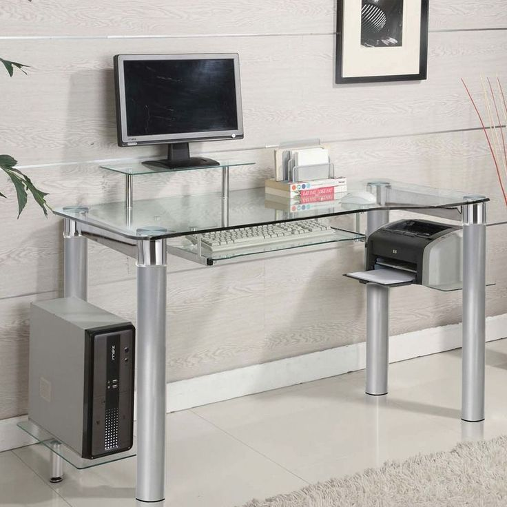 computer desks for home small spaces office laptop black glass modern furniture