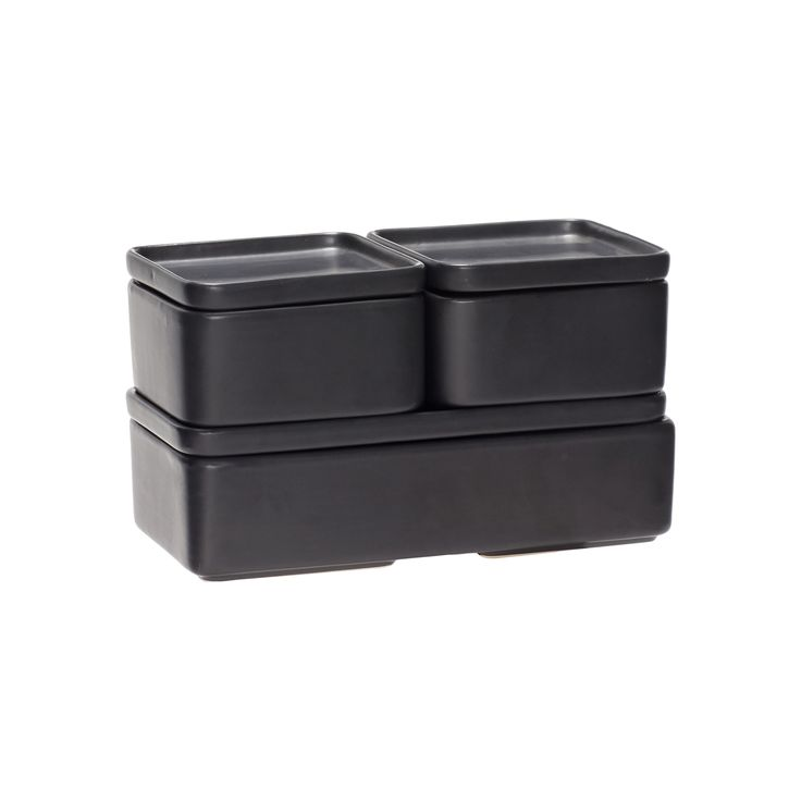 Black ceramic box with lid in a set of 3. Item number: 020405 - Designed by Hübsch