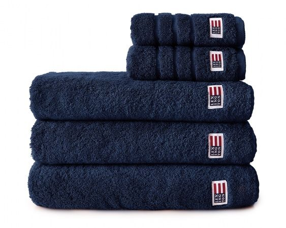 The Original Towel in a navy color is made of soft cotton terry. From Lexington Company. See all the towel colors in the link.